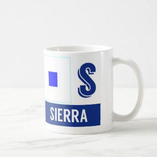 """Nautisk Sierra för flaggoralfabet """"S"""" Kaffemugg"""