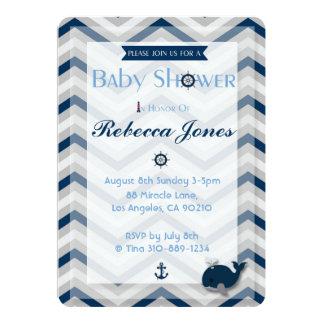 Nautisk sparre för blått för baby 12,7 x 17,8 cm inbjudningskort