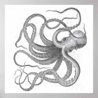 Nautisk steampunkbläckfiskvintage kraken poster