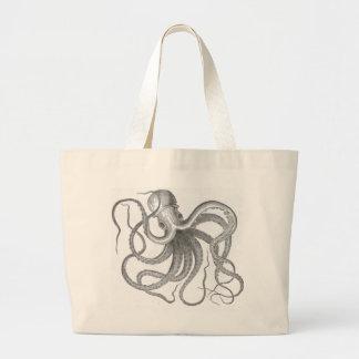 Nautisk steampunkbläckfiskvintage kraken teckninge tote bags