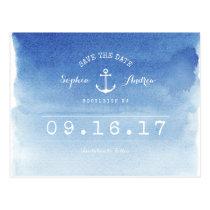 Nautisk strandbröllop spara datum för vattenfärg vykort