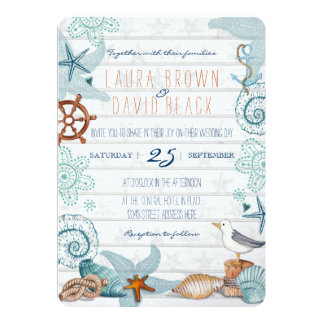 Nautisk strandbröllopinbjudan 12,7 x 17,8 cm inbjudningskort