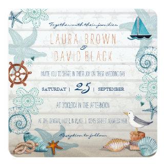 Nautisk strandbröllopinbjudan fyrkantigt 13,3 cm inbjudningskort