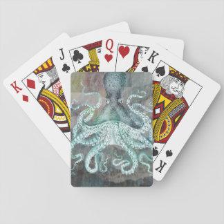 Nautisk vintagebläckfisk spel kort