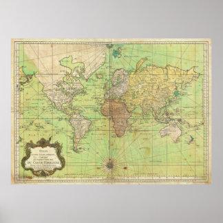 Nautiska Bellin 1778 kartlägger eller kartan av vä Posters