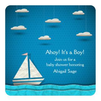 Nautiska pojkar för ~ för segelbåtbaby fyrkantigt 13,3 cm inbjudningskort