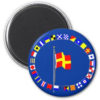 "Nautiska Romeo ""R"" signalerar flagga Magnet Rund 5.7 Cm"