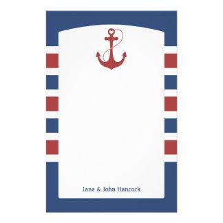 Nautiska rött och blått ankra brevpapper