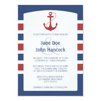Nautiska rött och blått ankra bröllopinbjudningar 12,7 x 17,8 cm inbjudningskort