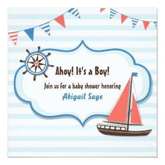 Nautiska segelbåtbaby showerinbjudningar för fyrkantigt 13,3 cm inbjudningskort