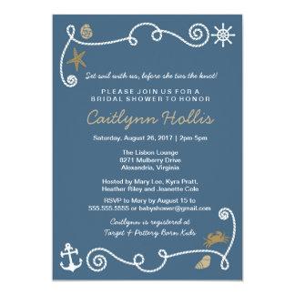 Nautiska strandblått och guldmöhippa eller baby 12,7 x 17,8 cm inbjudningskort