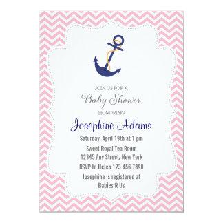Nautiskt ankra baby showerinbjudanrosor 12,7 x 17,8 cm inbjudningskort