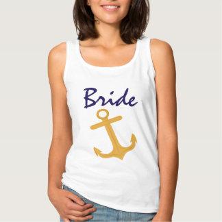 Nautiskt ankra brudbröllop linne