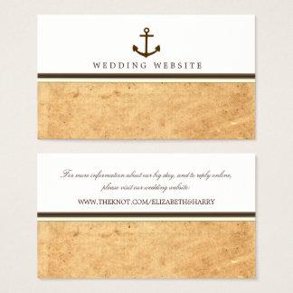Nautiskt ankra den pappra bröllopwebsiten för visitkort