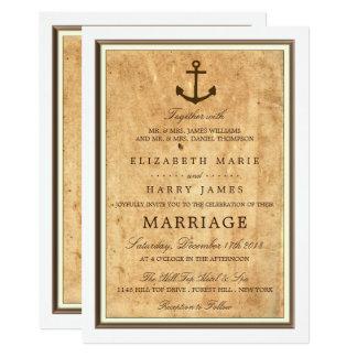 Nautiskt ankra inramat vintagepappersbröllop 12,7 x 17,8 cm inbjudningskort