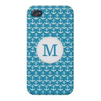 Nautiskt ankra Monogrammönster i blått iPhone 4 Fodraler
