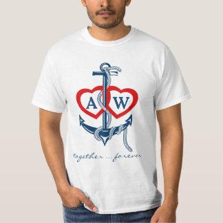 Nautiskt ankra monogramvalentin t-skjortan för dag t-shirt