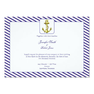 Nautiskt ankra på inbjudan för blåttrandbröllop