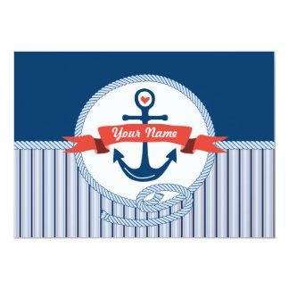 Nautiskt ankra rött vitt blått repbandrandar 12,7 x 17,8 cm inbjudningskort