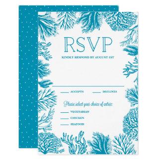 Nautiskt bröllop OSA för ljus blåttkorallram 8,9 X 12,7 Cm Inbjudningskort
