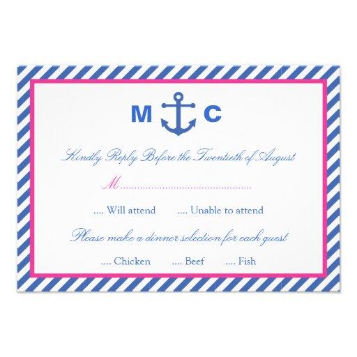 Nautiskt bröllop OSAkort Inbjudan