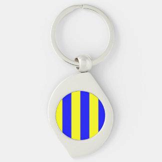 Nautiskt flaggabrevG (Golf) Swirl Silverfärgad Nyckelring