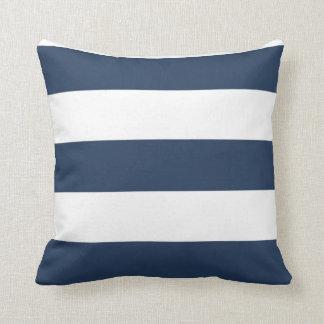 Nautiskt görade randig marinblått och vit kudder kudde