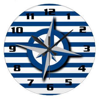 Nautiskt inspirerat kompass- och randmönster stor klocka