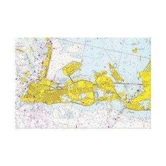 Nautiskt kartlägga av Key West, Florida Canvastryck