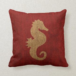 Nautiskt lantligt rött för havshäst kudde