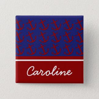 Nautiskt rött ankrar på blåttpersonlig standard kanpp fyrkantig 5.1 cm