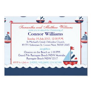Nautiskt segelbåtdop 12,7 x 17,8 cm inbjudningskort