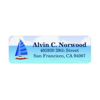 Nautiskt segelbåtstrandhav returadress etikett