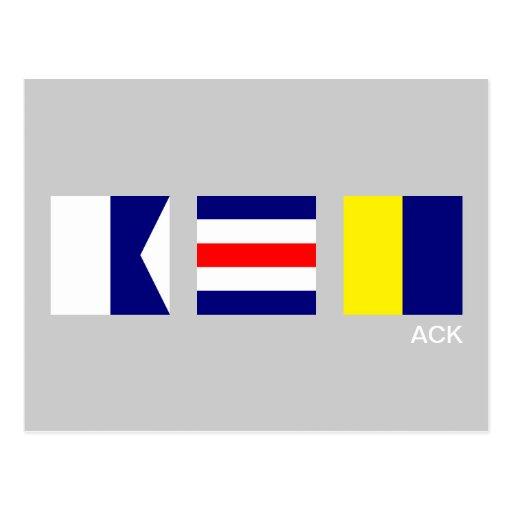 Nautiskt signalera vykortet för flaggaACK Nantucke Vykort