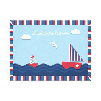 Nautiskt tema för elegant segelbåt, för barnrum canvastryck