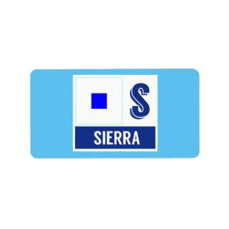 """Nautiskt underteckna flaggaalfabet S """"Sierran """", Adressetikett"""