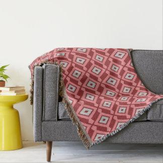NavajoIkat mönster - Burgundy, grå färg och korall Filt