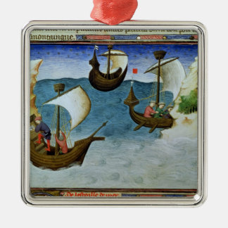Navigatörer som använder en astrolabium julgransprydnad metall