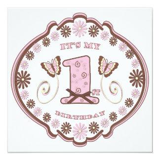 Neapolitan fjäril för första födelsedag fyrkantigt 13,3 cm inbjudningskort