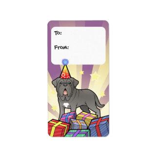 Neapolitan Mastiff för födelsedag Adressetikett