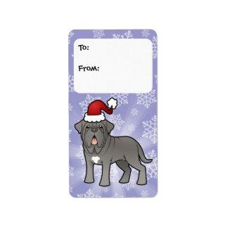 Neapolitan Mastiff för jul Adressetikett