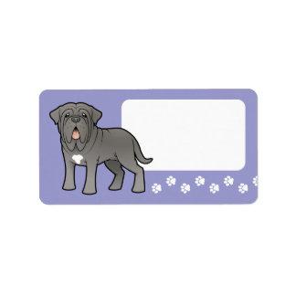 Neapolitan Mastiff för tecknad Adressetikett
