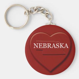 Nebraska hjärtakarta Keychain Rund Nyckelring