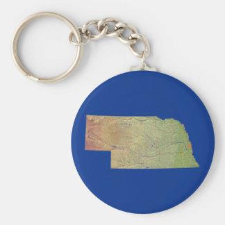 Nebraska karta Keychain Rund Nyckelring
