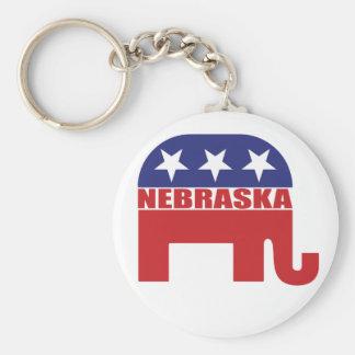 Nebraska republikanelefant rund nyckelring