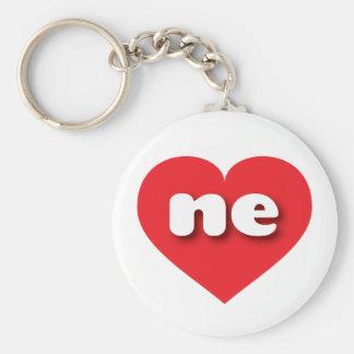 nebraska röd hjärta - mini- kärlek rund nyckelring