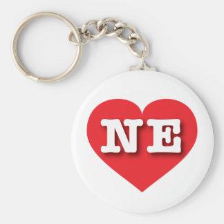 Nebraska röd hjärta - stor kärlek rund nyckelring