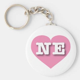 Nebraska rosa hjärta - stor kärlek rund nyckelring