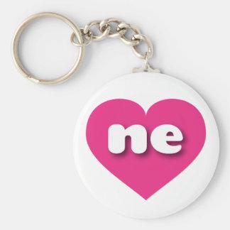 Nebraska shock rosahjärta - mini- kärlek rund nyckelring