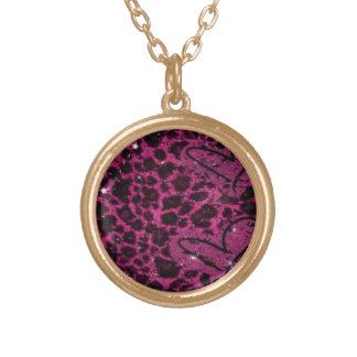 Neclace med rosa leapard kedjar guldpläterat halsband